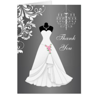 Wedding dress, chandelier on black gray Thank You Card