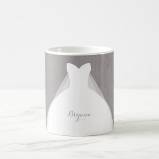 Wedding Dress Modern Glamour Bridal Chic Grey Classic White Coffee Mug