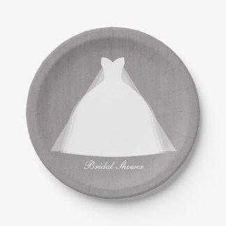 Wedding Dress Modern Glamour Bridal Shower Grey 7 Inch Paper Plate