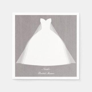 Wedding Dress Modern Glamour Bridal Shower Grey Disposable Napkin