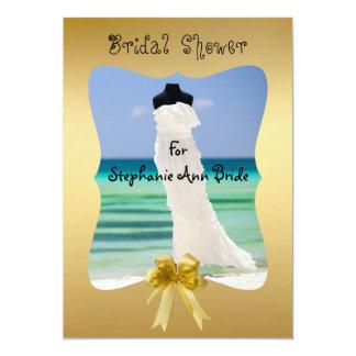 "Wedding Dress On The Beach Bridal Shower Card 5"" X 7"" Invitation Card"