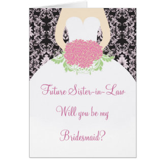 Wedding dress, pink damask on black Bridesmaid Card