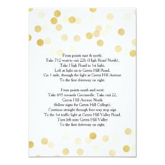 "Wedding Driving Directions Gold Foil Glitter Light 4.5"" X 6.25"" Invitation Card"