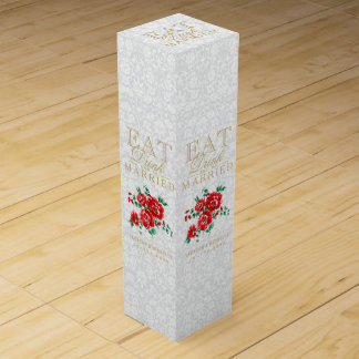 Wedding Eat, Drink and be Married - Red Flowers Wine Box