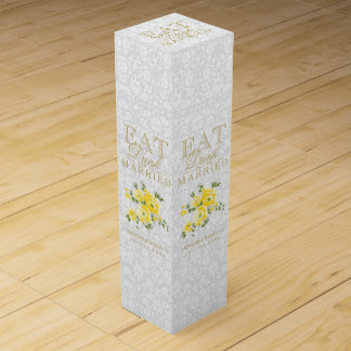 Wedding Eat, Drink and be Married - Yellow Flowers Wine Gift Box