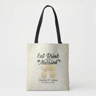 Wedding Eat Drink & be Married Gold Foil Pineapple Tote Bag