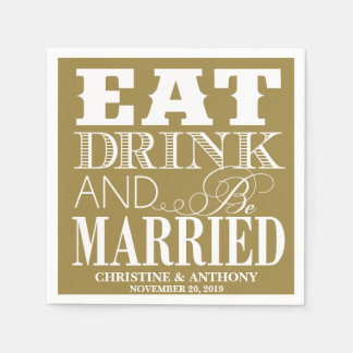 Wedding Eat Drink & Be Married Personalized Napkin