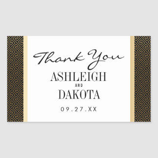 Wedding | Elegant Formal Golden Geometric on Black Sticker