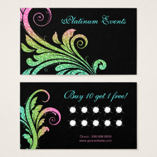 Wedding Elegant Glitter Leaf Swirl Loyalty Business Card