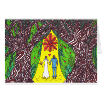 Wedding/Engagement card - trees and couple