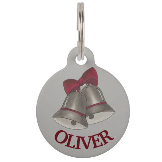 Wedding Engagement Christmas Silver Bells Chimes Pet ID Tag