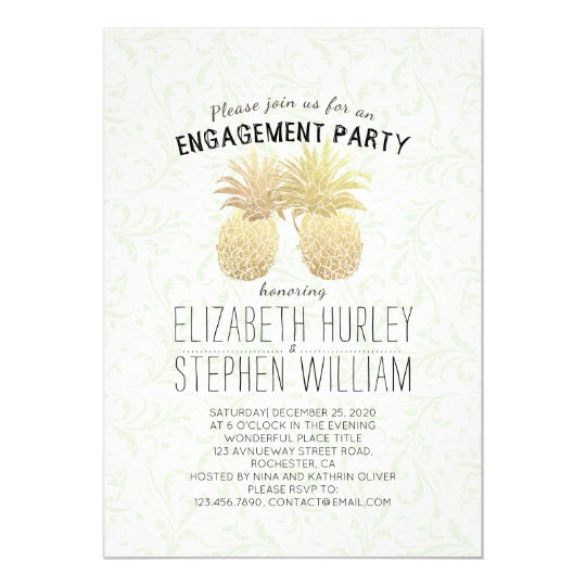 Wedding Engagement Party Elegant Gold Pineapples Card