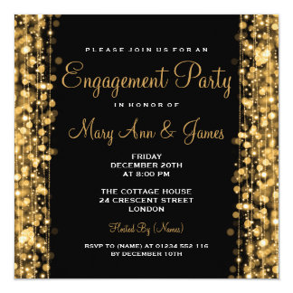 "Wedding Engagement Party Sparkles Gold 5.25"" Square Invitation Card"