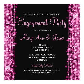 "Wedding Engagement Party Sparkles Pink 5.25"" Square Invitation Card"