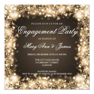 "Wedding Engagement Party Sparkling Lights Gold 5.25"" Square Invitation Card"