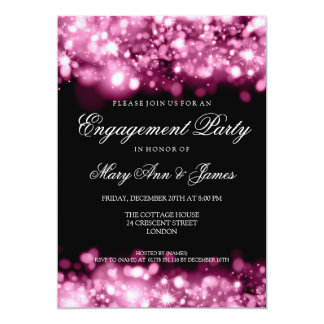 "Wedding Engagement Party Sparkling Lights Pink 5"" X 7"" Invitation Card"