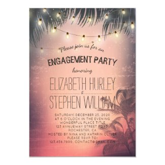 Wedding Engagement Party Summer Palm Trees Lights Card