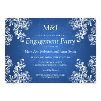 Wedding Engagement Vintage Swirls 2 Sapphire Blue 5x7 Paper Invitation Card