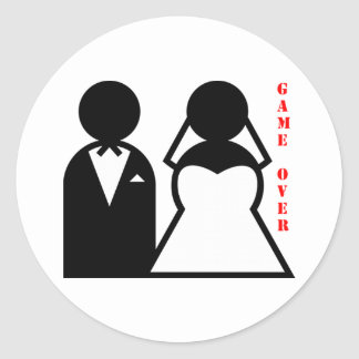 wedding equals game over classic round sticker
