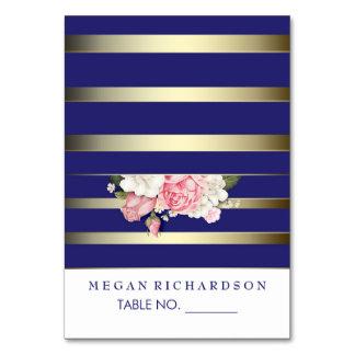 wedding escort cards floral navy vintage stripes