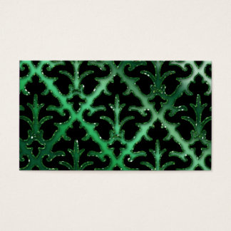 Wedding Event Planner Damask Emerald Green Sparkle Business Card