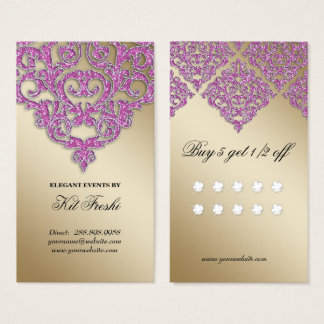 Wedding Event Planner Damask Gold Sparkle Loyalty Business Card