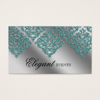 Wedding Event Planner Damask Sparkle Silver Teal Business Card