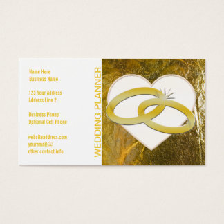 Wedding Event Planner | Faux Gold Foil Rings Heart Business Card