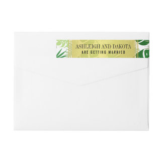Wedding   Exotic Green Tropical Leaves Wrap Around Label