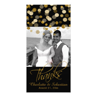 Wedding Faux Gold Glitter Dots Thank You Personalized Photo Card