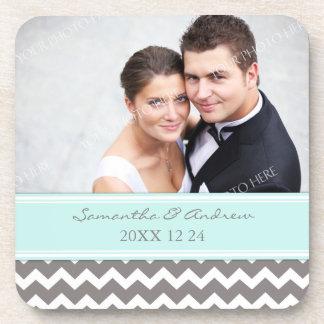 Wedding Favor Blue Grey Chevron Photo Coasters