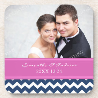 Wedding Favor Blue Hot Pink Chevron Photo Coasters