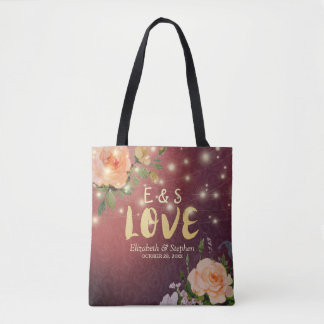 Wedding Favor Burgundy Elegant Floral String Light Tote Bag