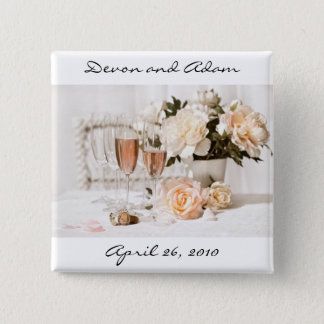 Wedding Favor Button Champagne and Flowers