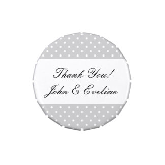 Wedding favor candy tins with polka dot pattern