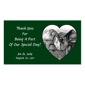 WEDDING FAVOR CARDS: HORSES NUZZLING IN HEART BUSINESS CARD TEMPLATE
