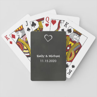Wedding Favor Chalkboard Heart Playing Cards