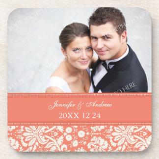 Wedding Favor Coral Damask Photo Coasters