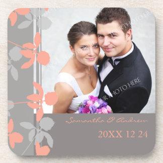 Wedding Favor Coral Grey Floral Photo Coasters