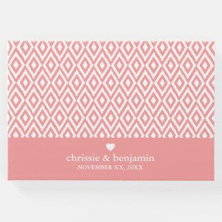 Wedding Favor Custom Bride Groom Date Ikat Pattern Guest Book