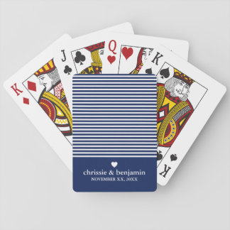 Wedding Favor Custom Bride Groom Date Stripe Playing Cards