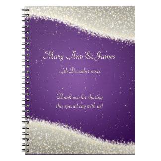 Wedding Favor Dazzling Sparkles Purple Spiral Notebooks