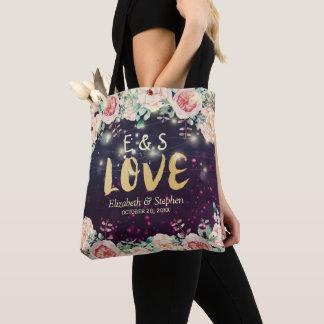 Wedding Favor Elegant Floral Purple Sparkle Lights Tote Bag