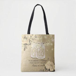 Wedding Favor Floral Mason Jar String Lights Gold Tote Bag