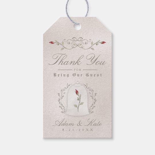 WEDDING FAVOR GIFT TAGS | Elegant Red Rose