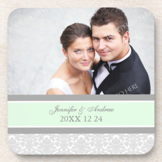 Wedding Favor Gray Mint Damask Photo Coasters