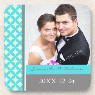 Wedding Favor Gray Teal Mint Photo Coasters