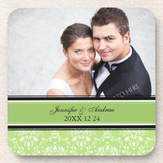 Wedding Favor Green Damask Photo Coasters
