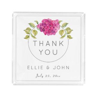 Wedding Favor Hot Pink Hydrangea Acrylic Tray