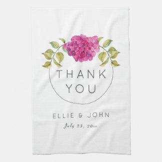 Wedding Favor Hot Pink Hydrangea Kitchen Towel
